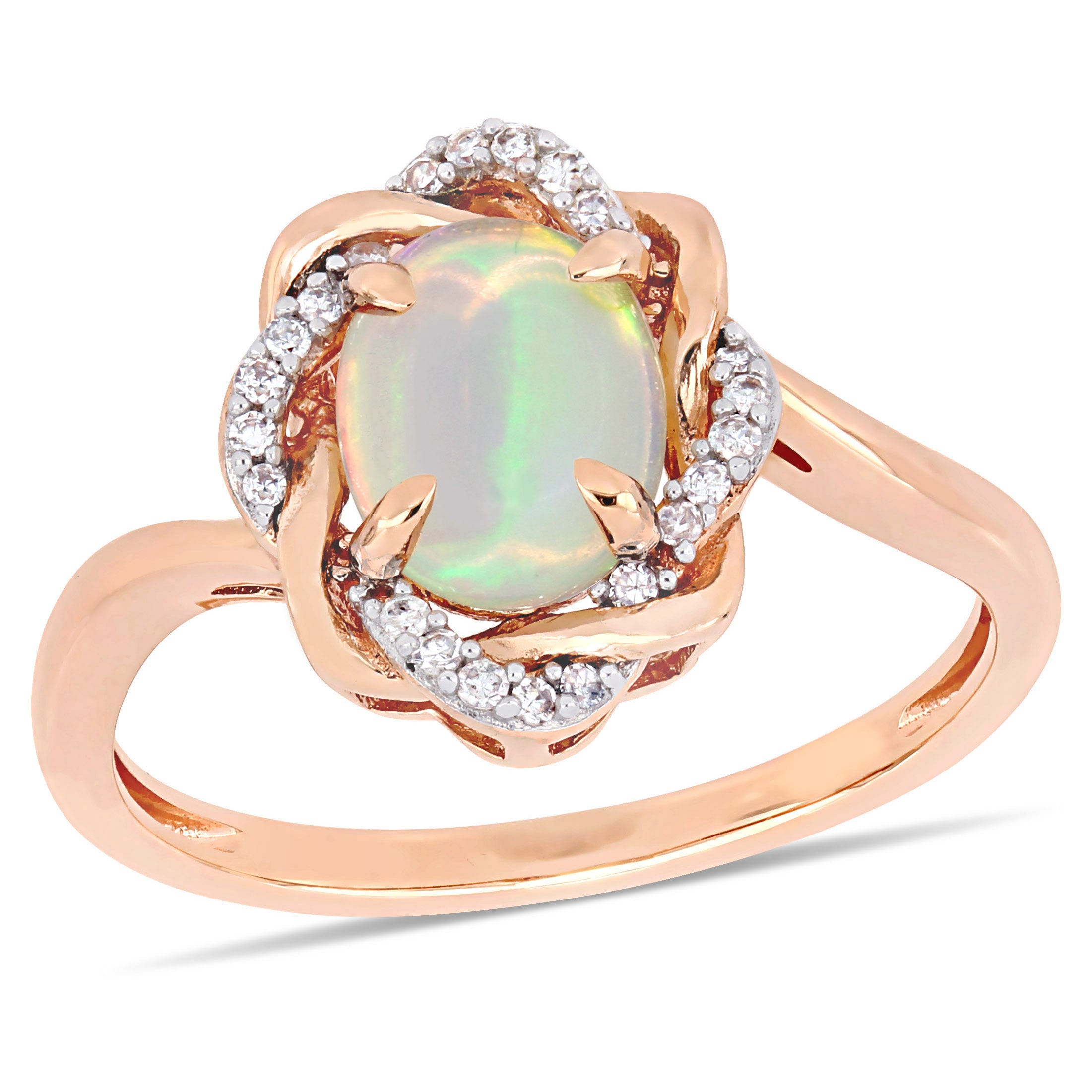 67c73e27a4785 Ethiopian Blue-Hued Opal & Diamond Woven Halo Ring in Rose Gold