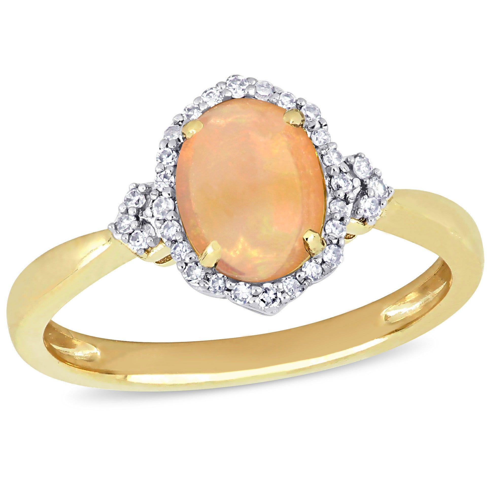 Ethiopian Oval Opal & Diamond Halo Ring in 10k Yellow Gold