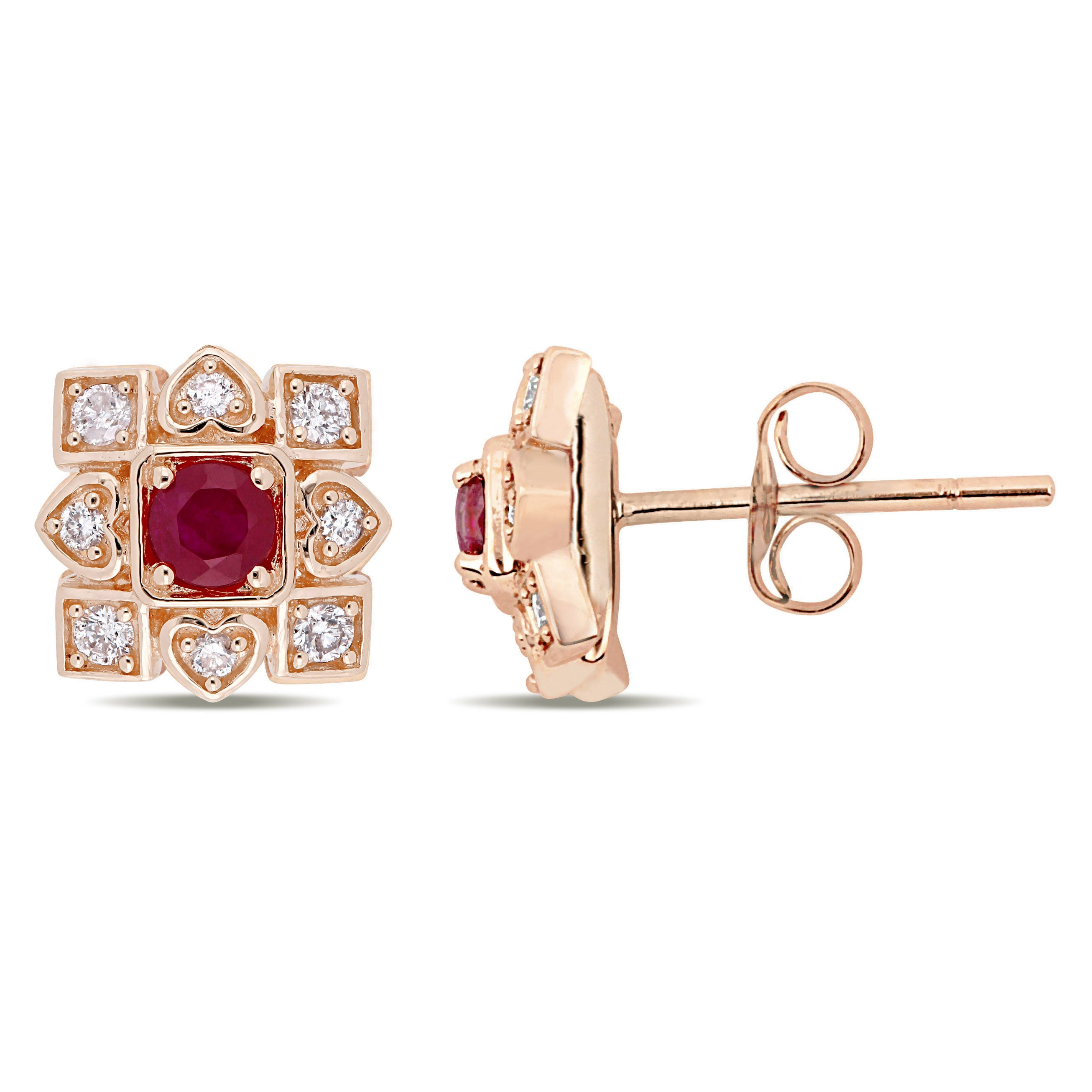 Everly Diamond & Ruby Stud Earrings in 10k Rose Gold