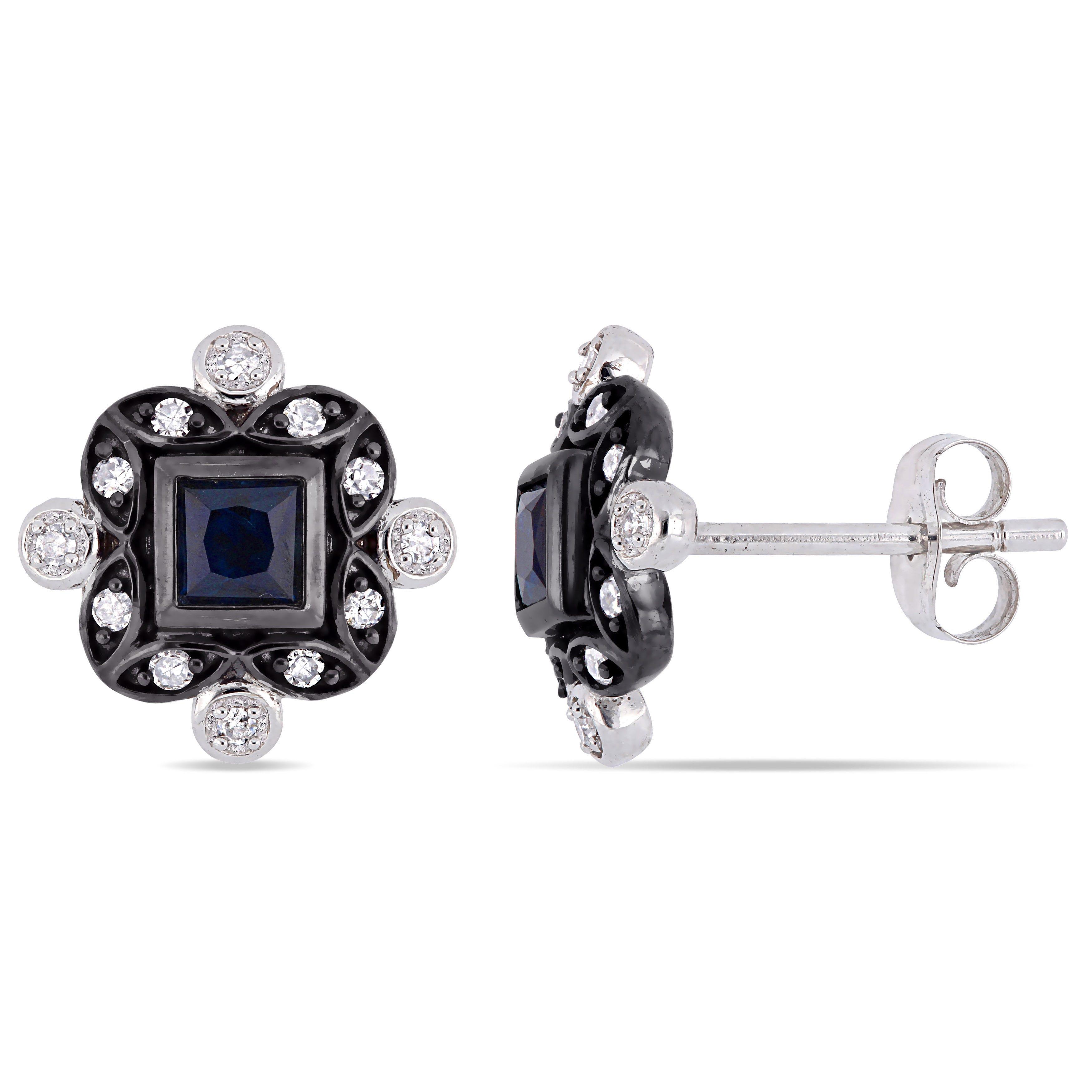 Everly Diamond & Blue Sapphire Stud Earrings in 10k White Gold