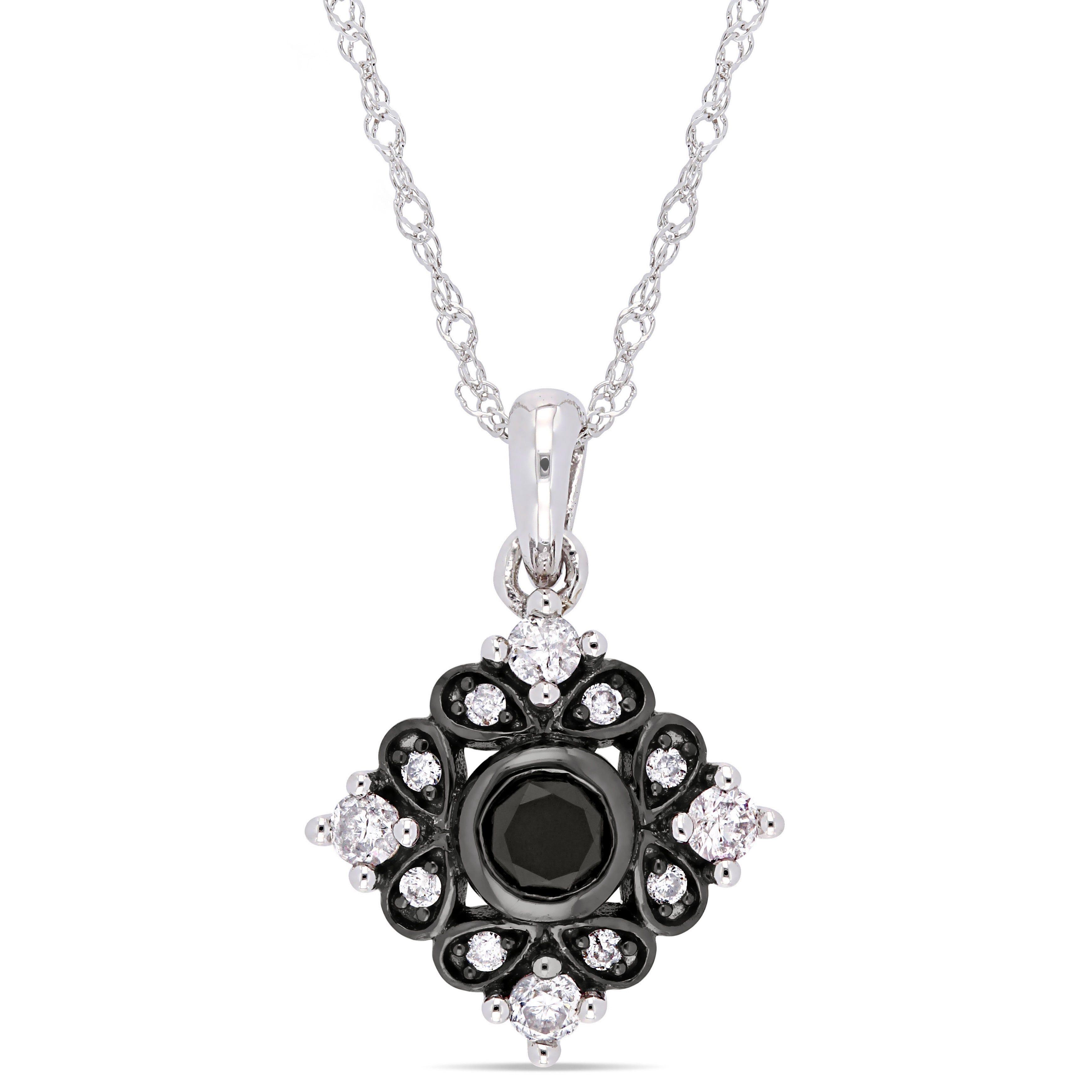 Everly Black & White Diamond Fashion Pendant in 10k White Gold