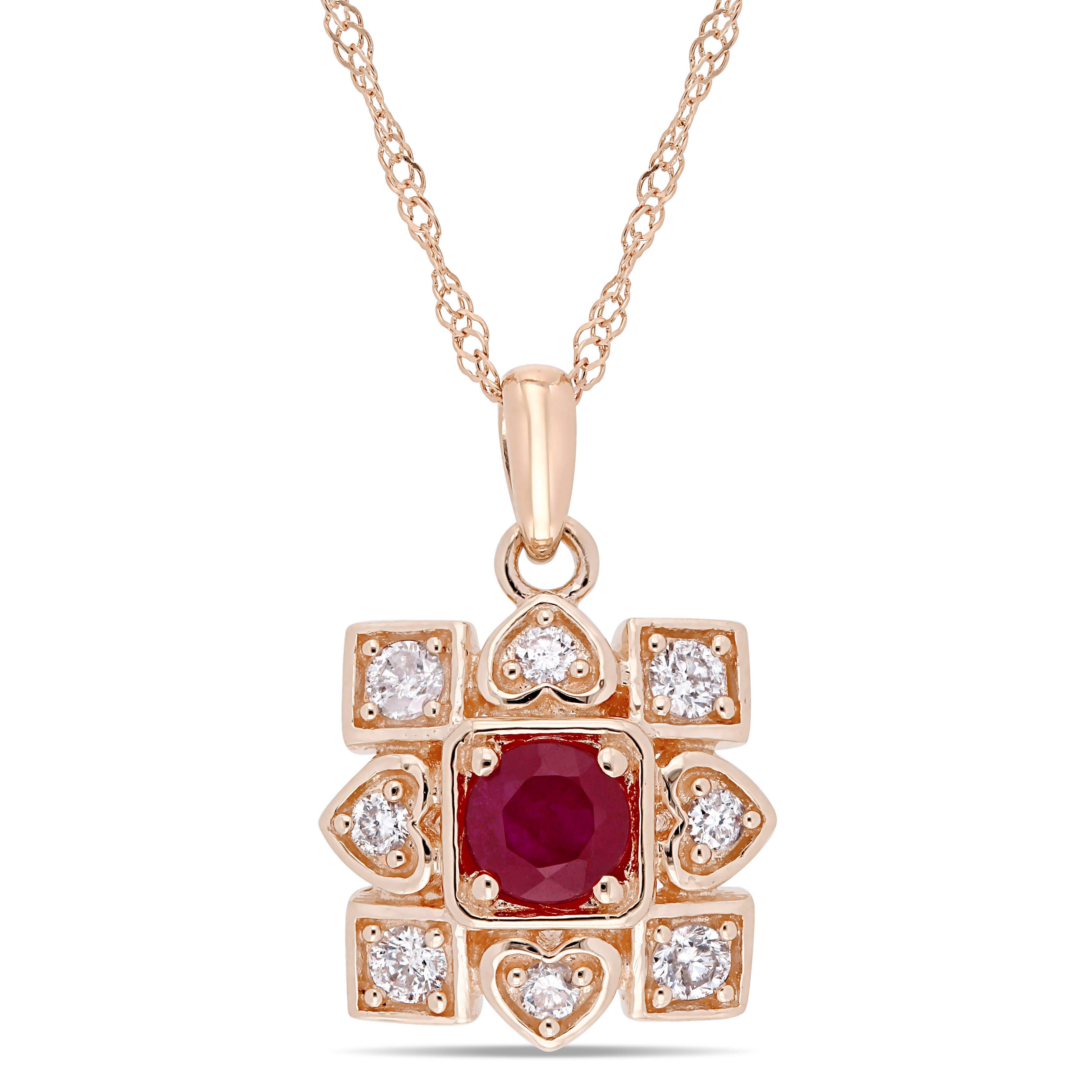 Everly Diamond & Ruby Fashion Pendant in 10k Rose Gold