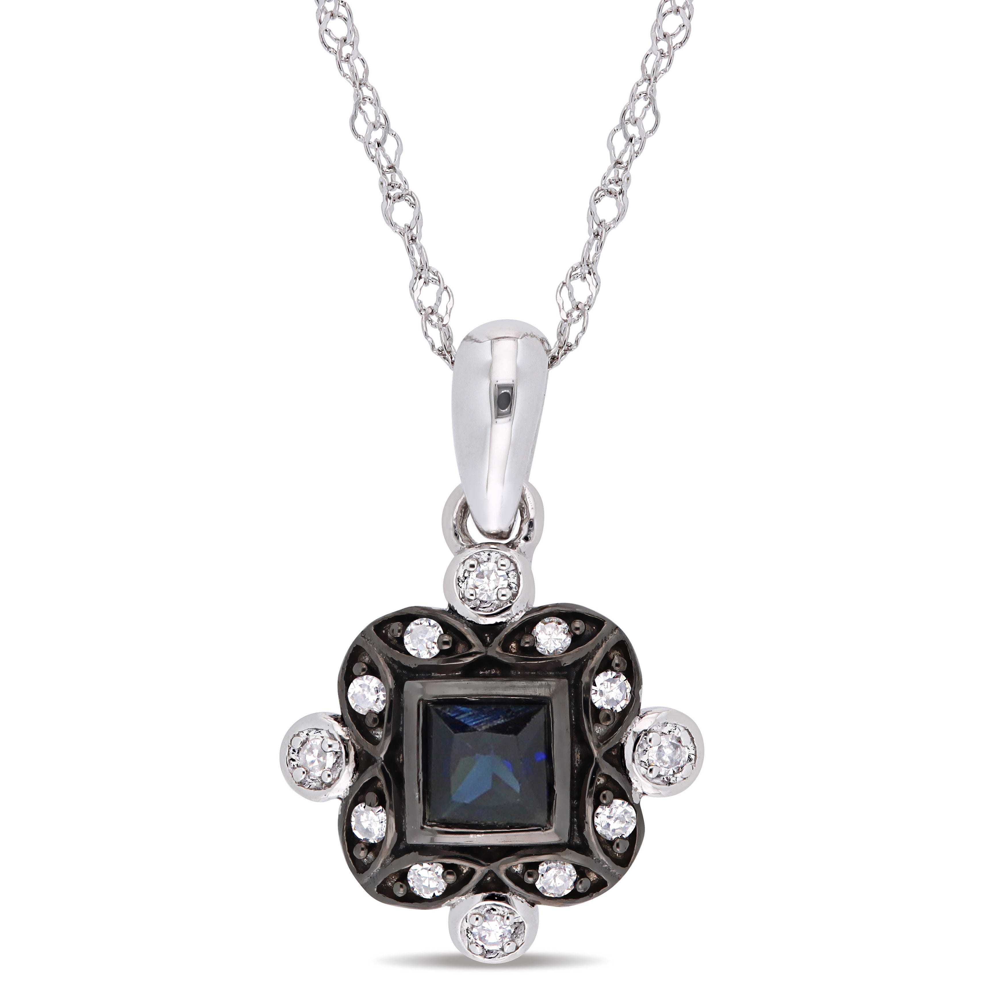 Everly Diamond & Blue Sapphire Fashion Pendant in 10k White Gold