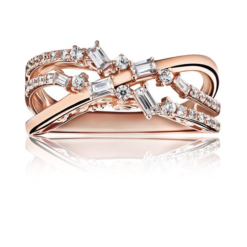 JK Crown® Round & Baguette Diamond Fashion Ring in 10k Rose Gold