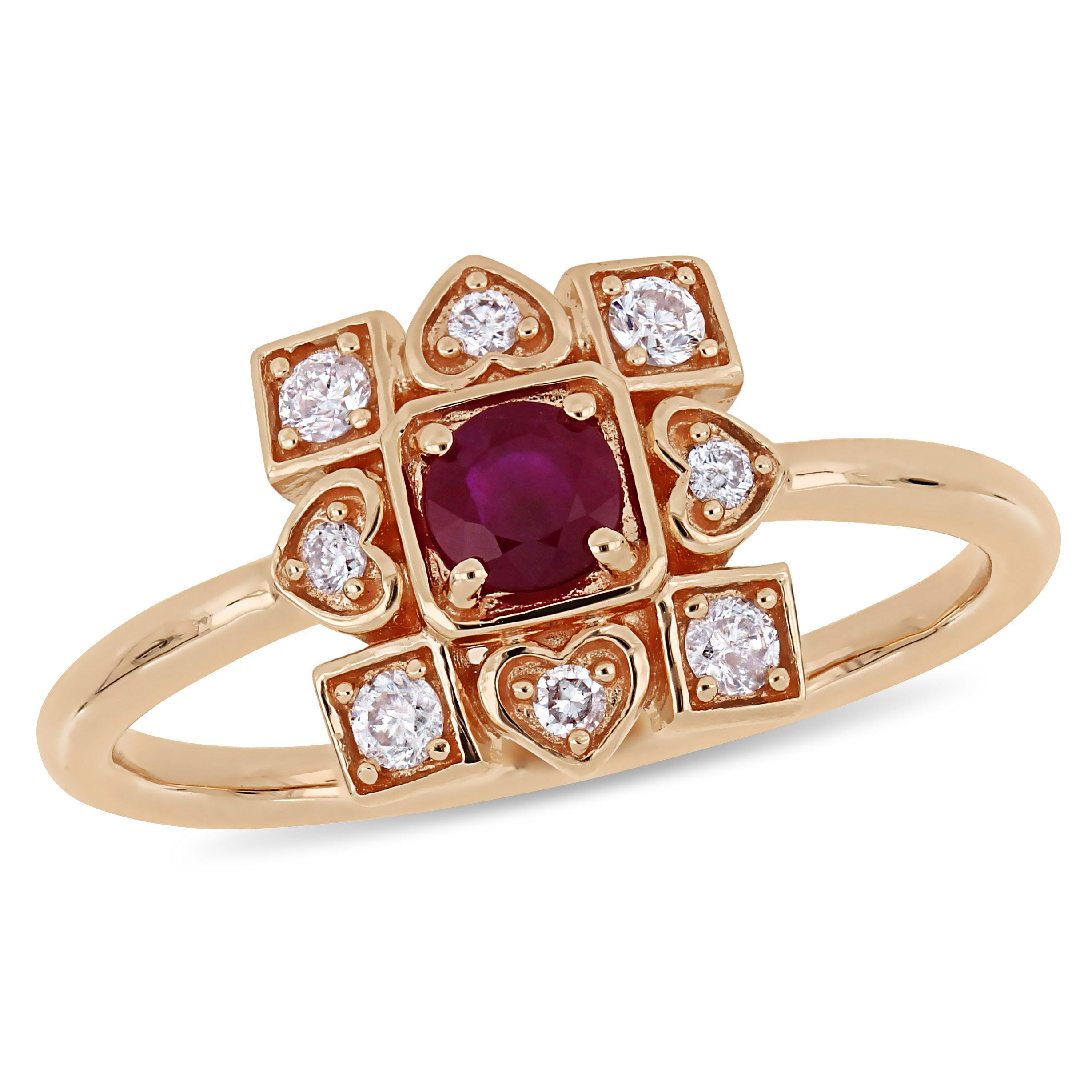 Everly Vintage-Inspired 1/5ctw. Diamond & Ruby Ring in 10k Rose Gold