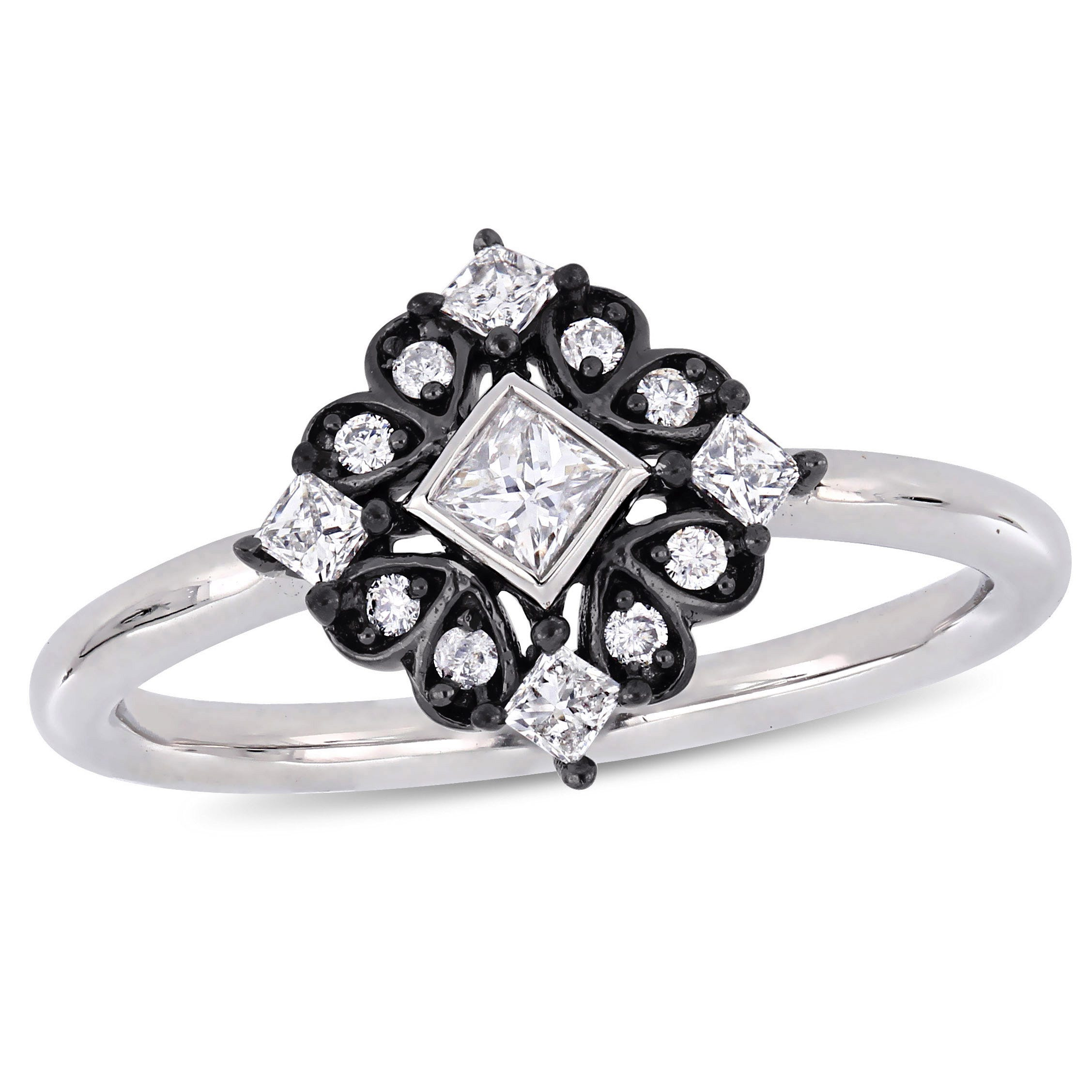 Everly Princess & Round 1/3ctw. Diamond Ring in 10k White Gold