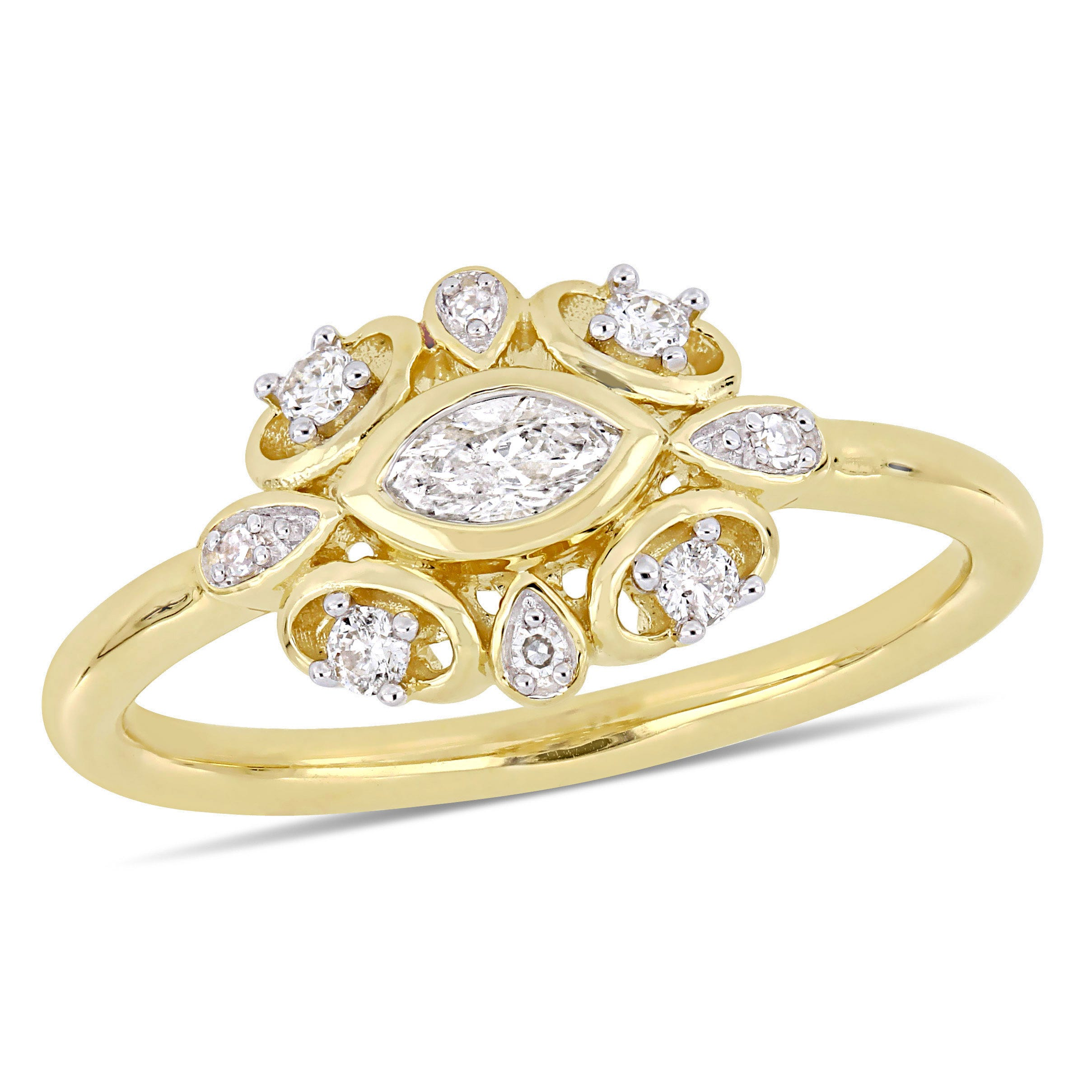 Everly Sideways 1/4ctw. Marquise & Round Diamond Fashion Ring in 10k Yellow Gold