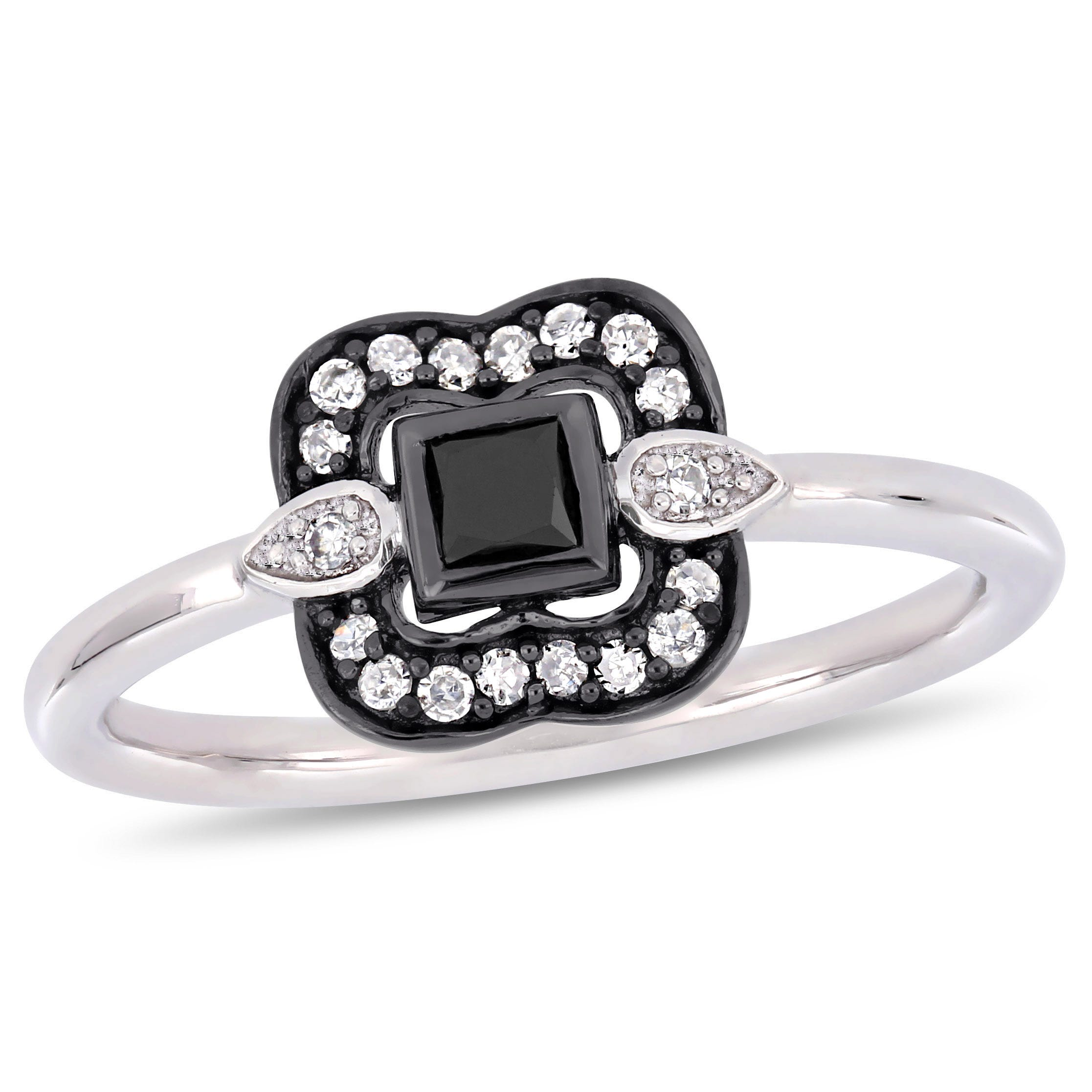 Everly 1/4ctw. Black & White Diamond Ring in 10k White Gold