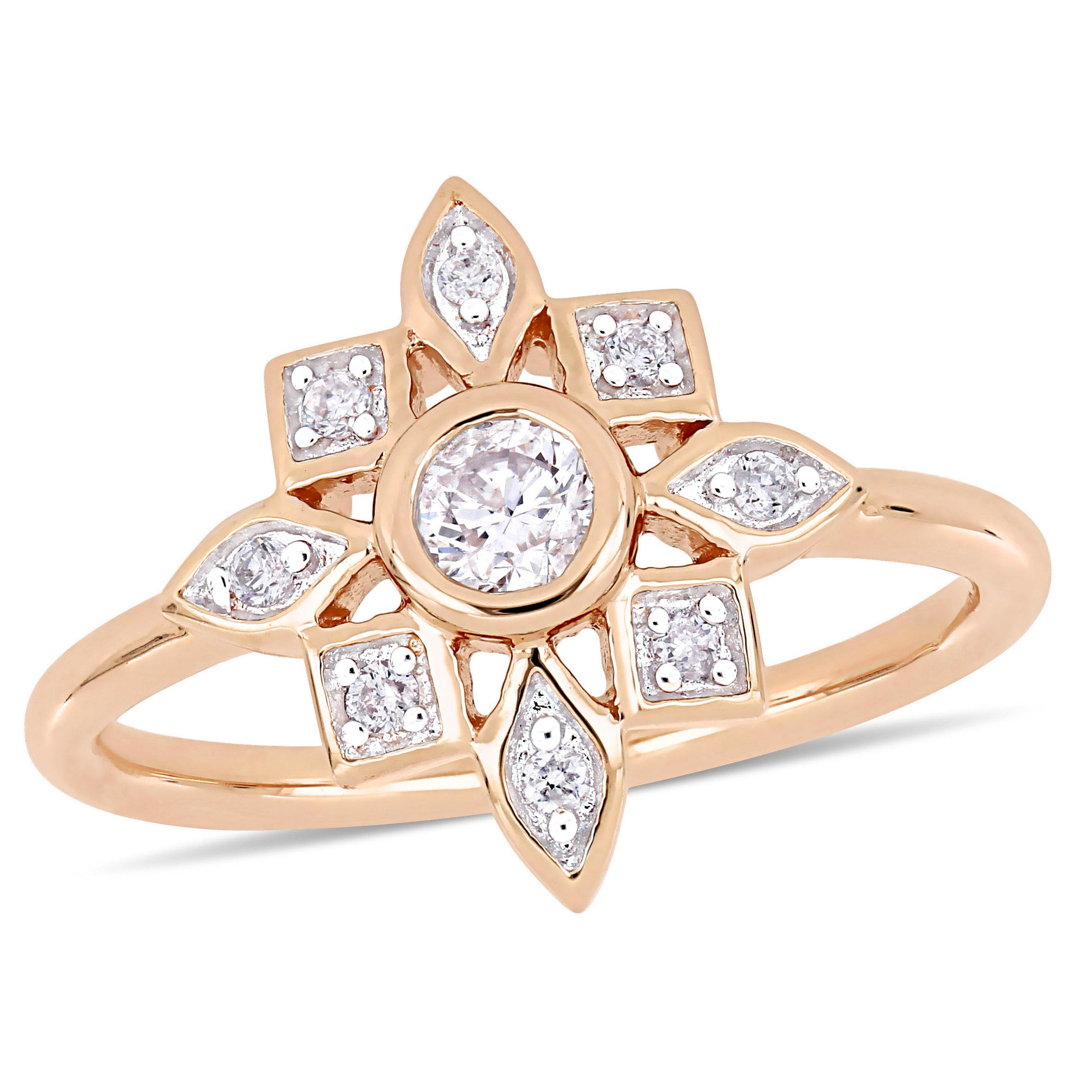 Everly Floral-Inspired 1/3ctw. Diamond Fashion Ring in 10k Rose Gold