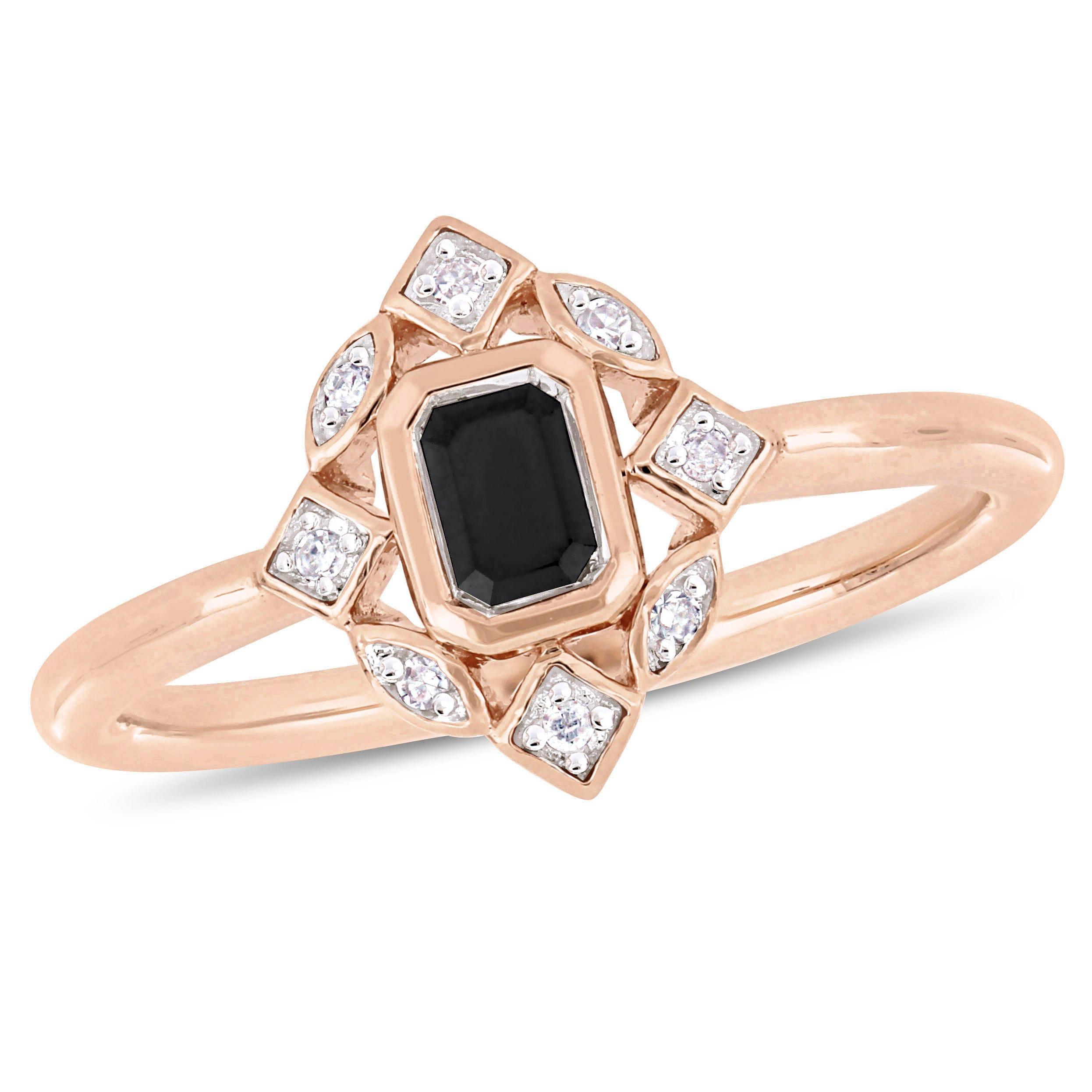 Everly Black Emerald-Cut & White Diamond Fashion Ring in 10k Rose Gold
