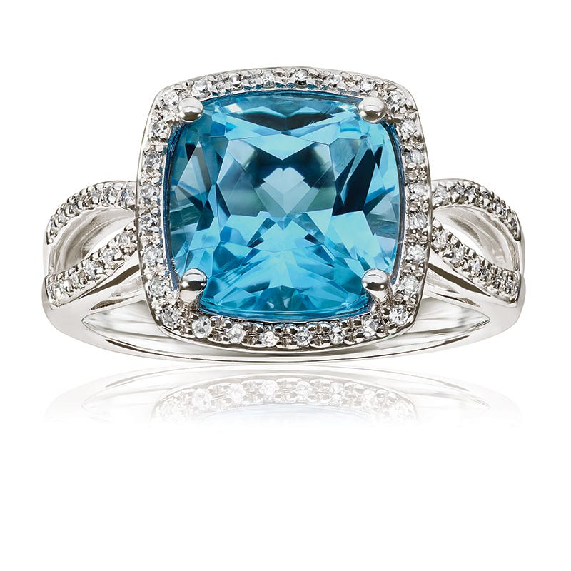 JK Crown® Blue Topaz & Diamond Halo Cocktail Ring
