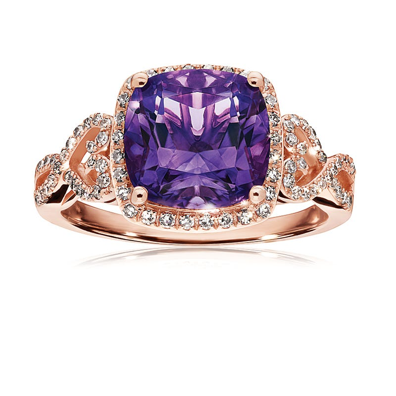 JK Crown® Amethyst & Diamond Halo Hearts Cocktail Ring