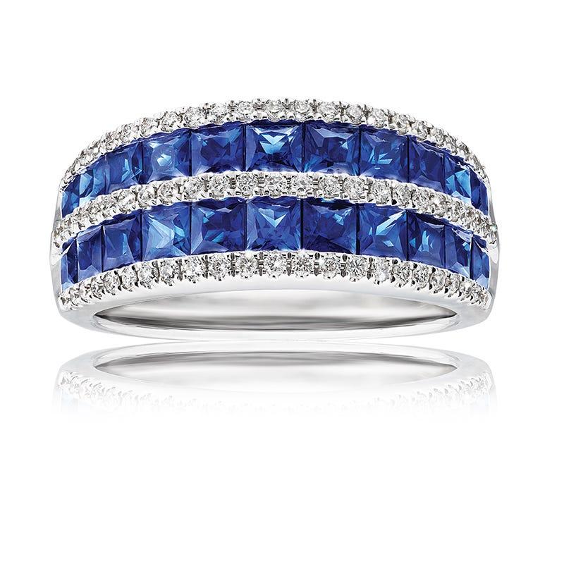 Sapphire & Diamond Statement Ring in 14k White Gold