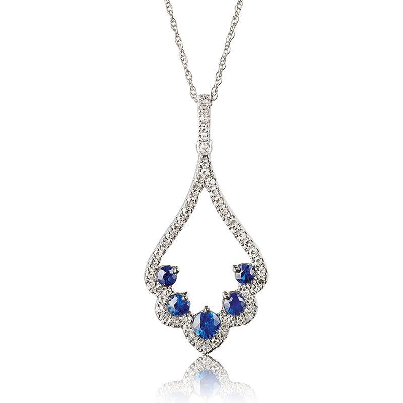 Sapphire & Diamond Scalloped Pendant in 14k White Gold