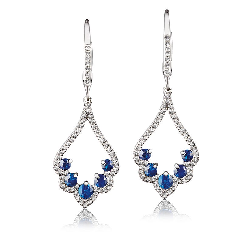 Sapphire & Diamond Scalloped Dangle Earrings in 14k White Gold