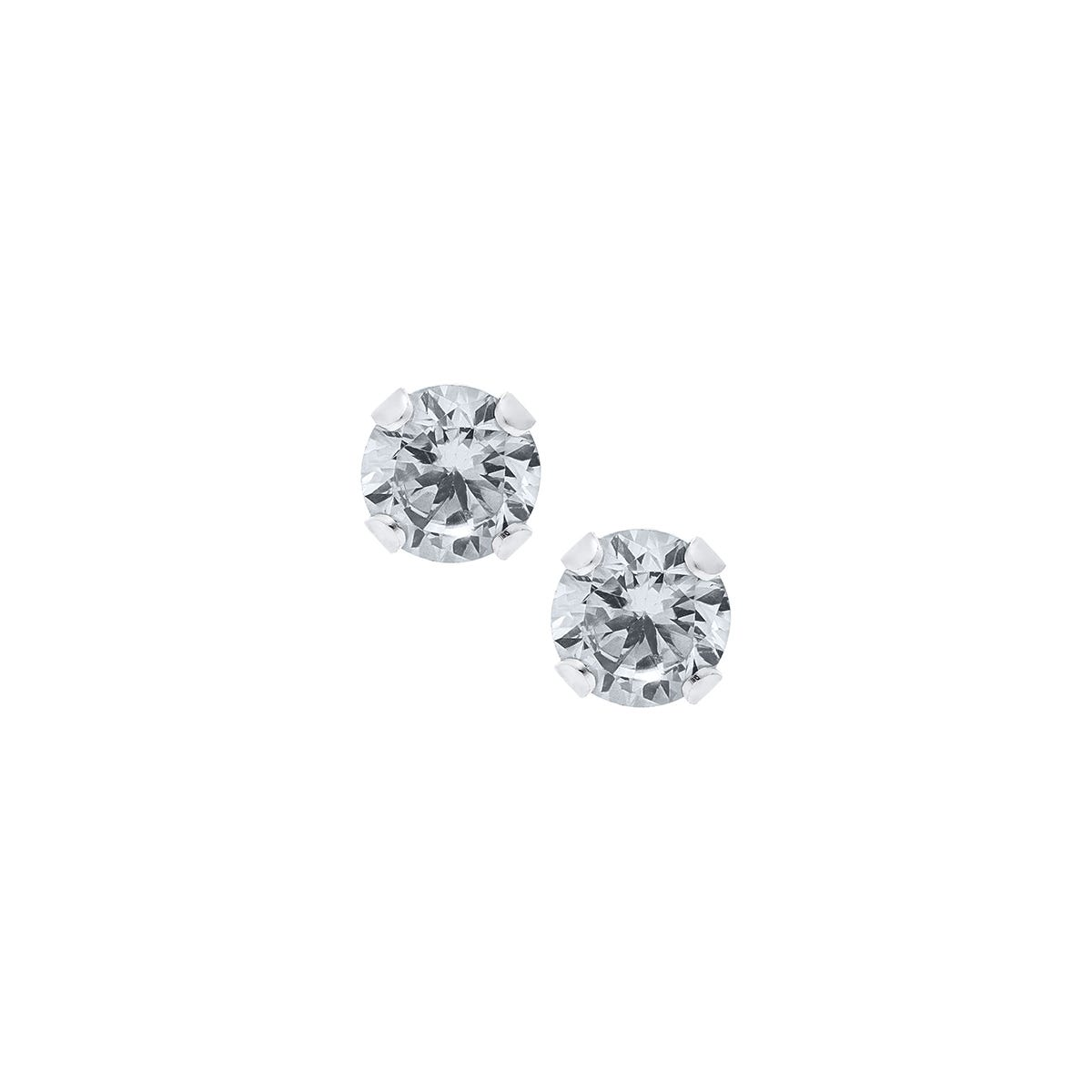 Baby & Children's 4mm Crystal Round Screw Back Earrings in Sterling Silver