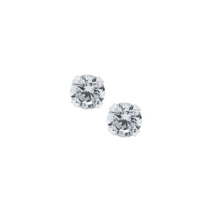 Baby Children S 4mm Crystal Round Back Earrings In Sterling Silver