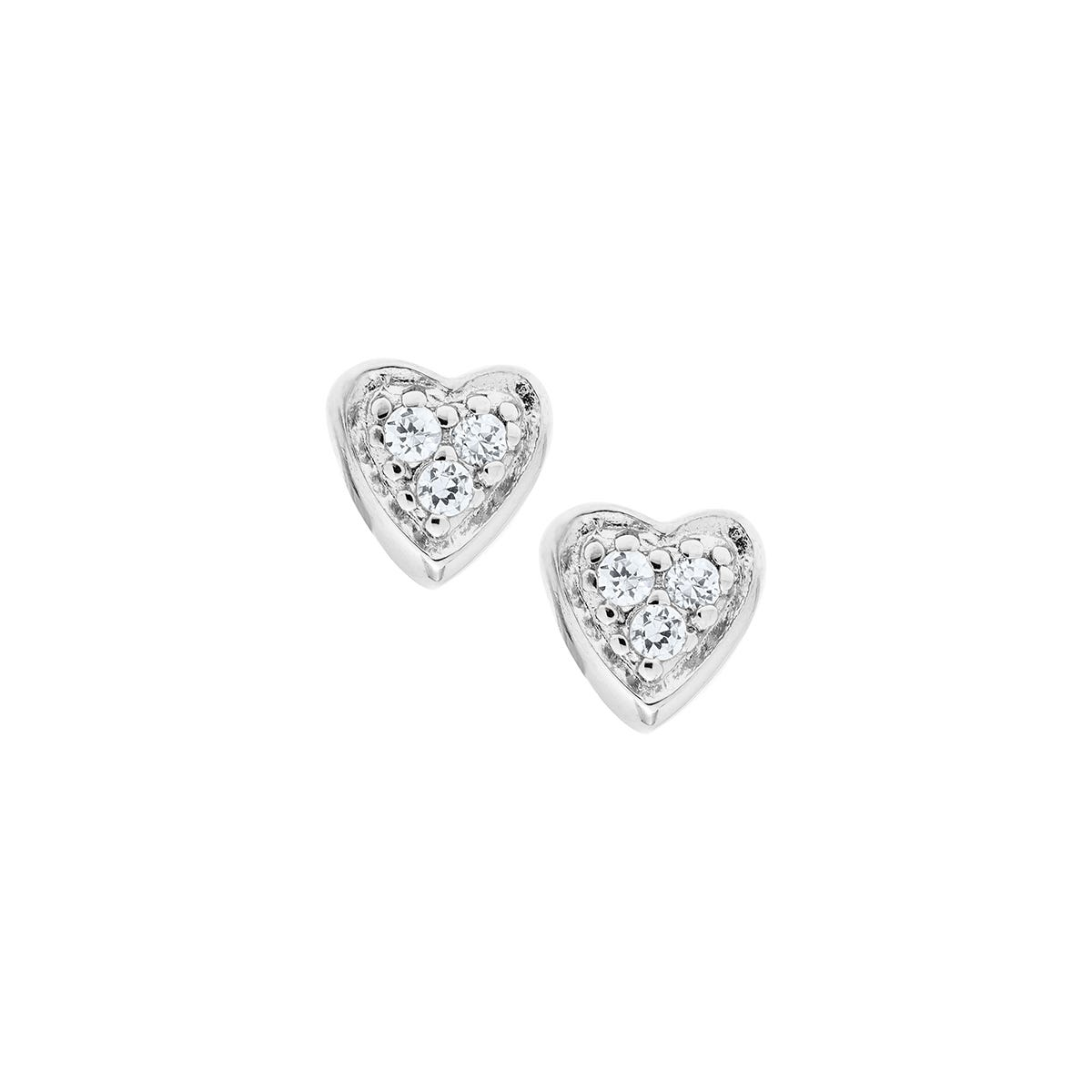 Baby & Children's Crystal Heart Screw Back Earrings in Sterling Silver