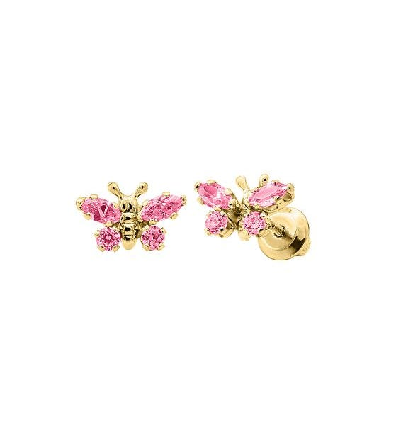 Baby & Children's Pink Crystal Butterfly Stud Earrings in 14k Yellow Gold