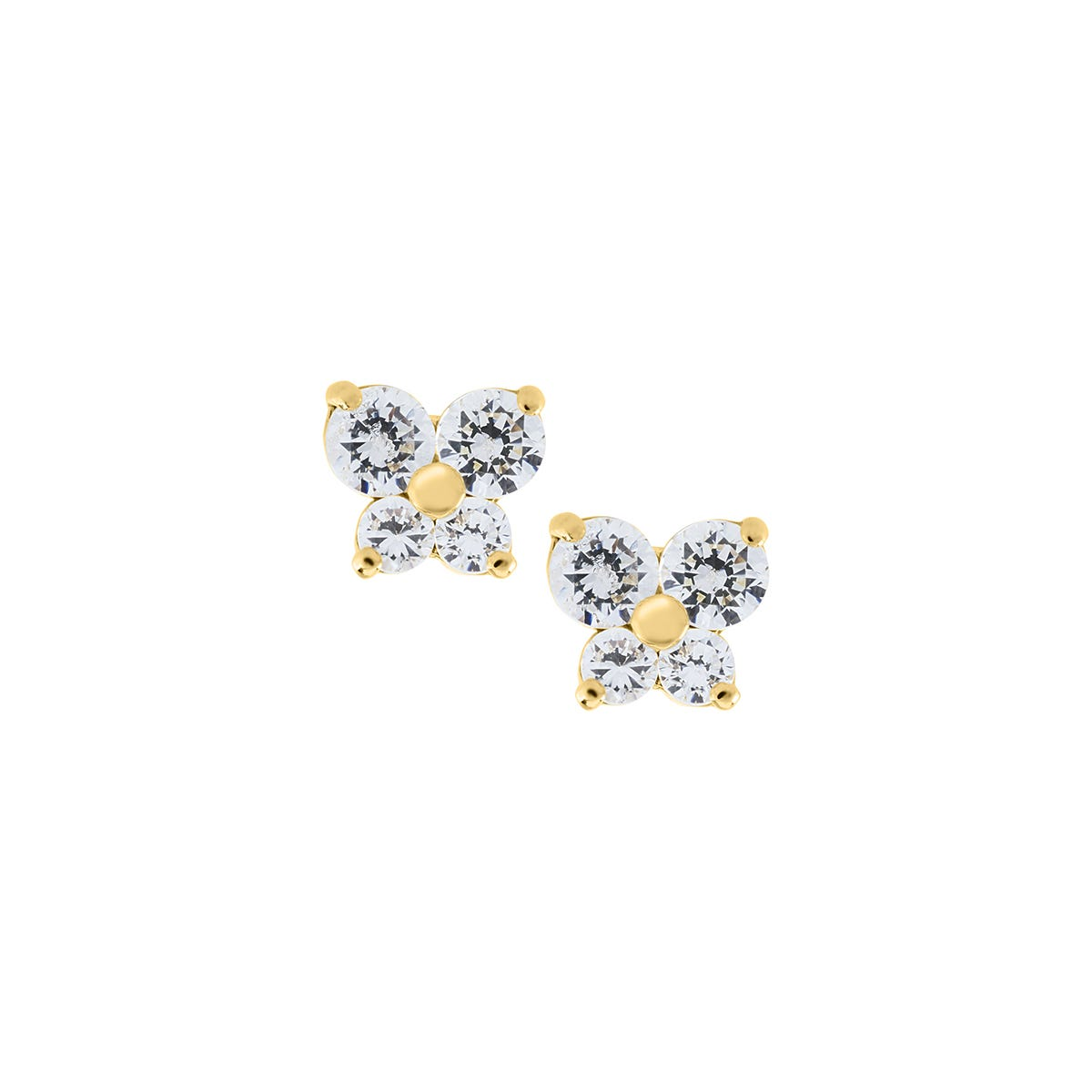 Baby Children S White Crystal Erfly Stud Earrings In 14k Yellow Gold