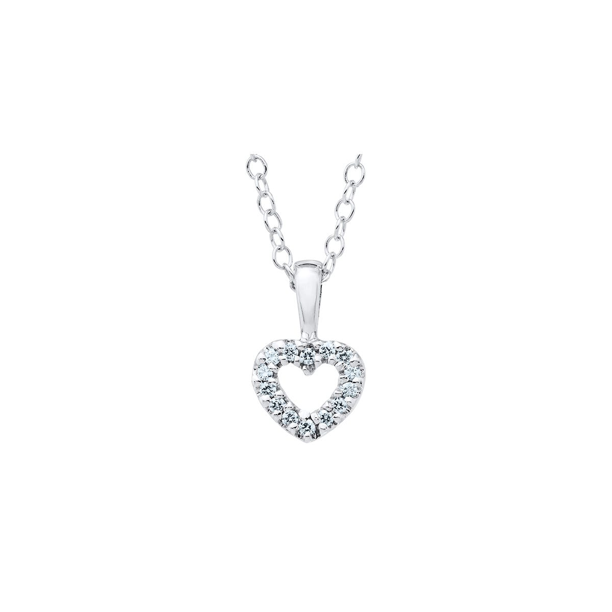 Baby & Children's Open Heart Crystal Pendant in Sterling Silver