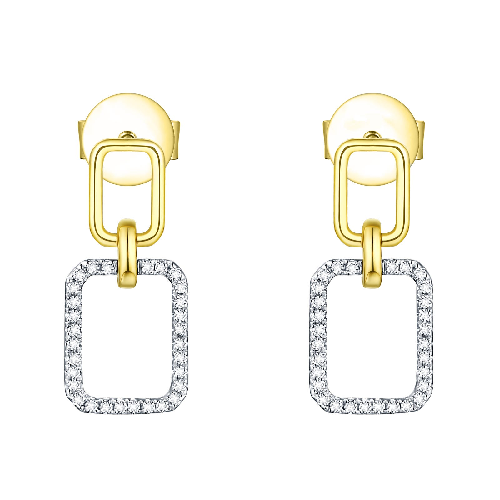 Diamond Double Rectangle Drop Earrings in 14K White & Yellow Gold