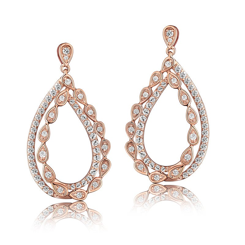 Double Open-Pear Loop 1ctw. Diamond Dangle Earrings in 14k Rose Gold