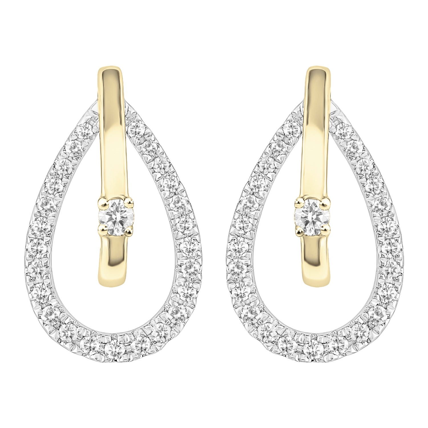Diamond Open Teardrop Earrings in 10kt White & Yellow Gold