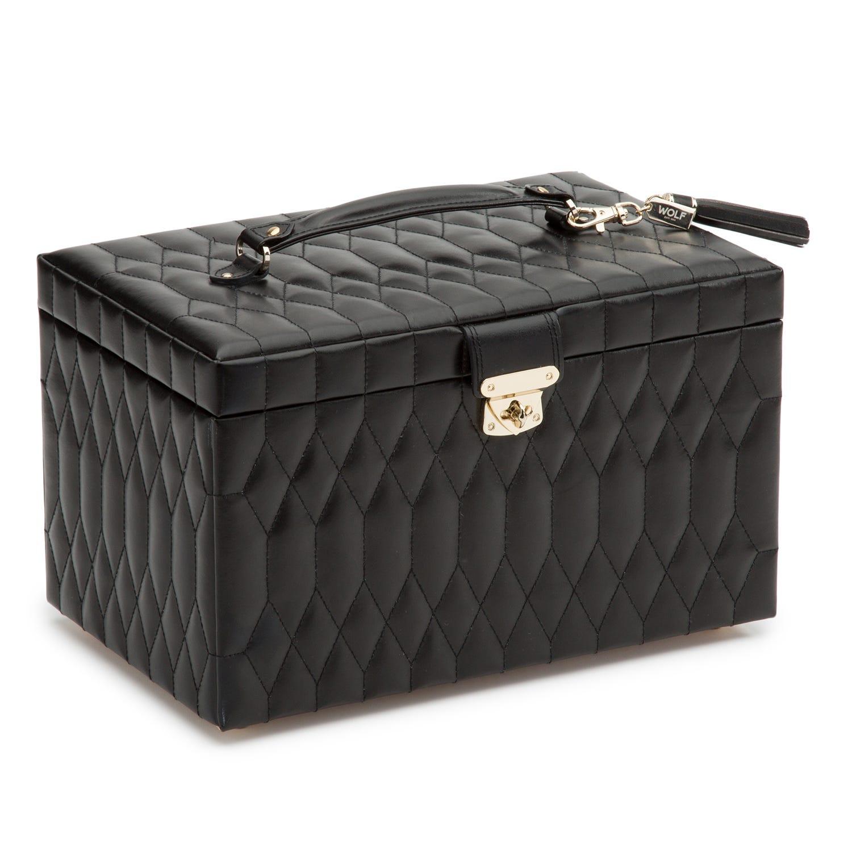 Black Leather Caroline Large Jewelry Case