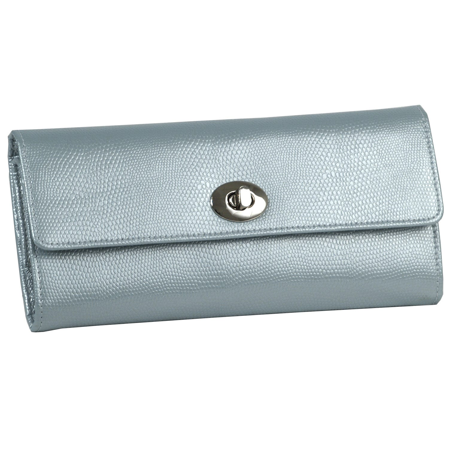 Ice Blue Leather London Jewelry Roll