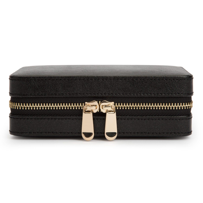 Black Leather Palermo Zip Jewelry Case