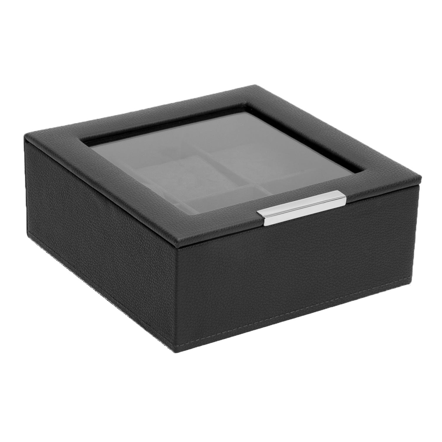 Black Stackable Six Piece Watch Tray with Lid