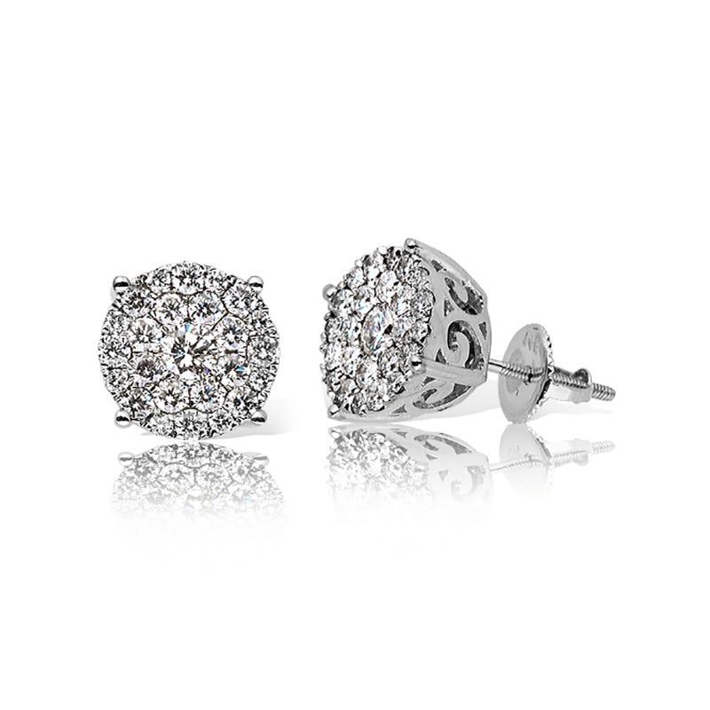 Diamond Round Cluster Stud 1 1/2ctw Earrings in 14k White Gold
