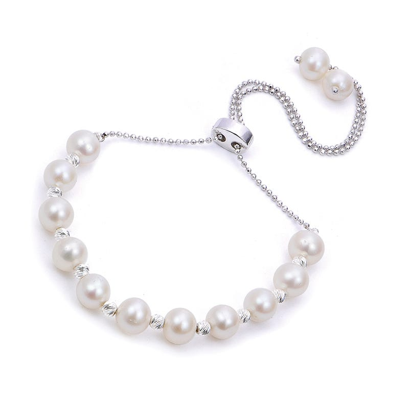 Imperial Pearl & Sparkle Bead Bolo Bracelet