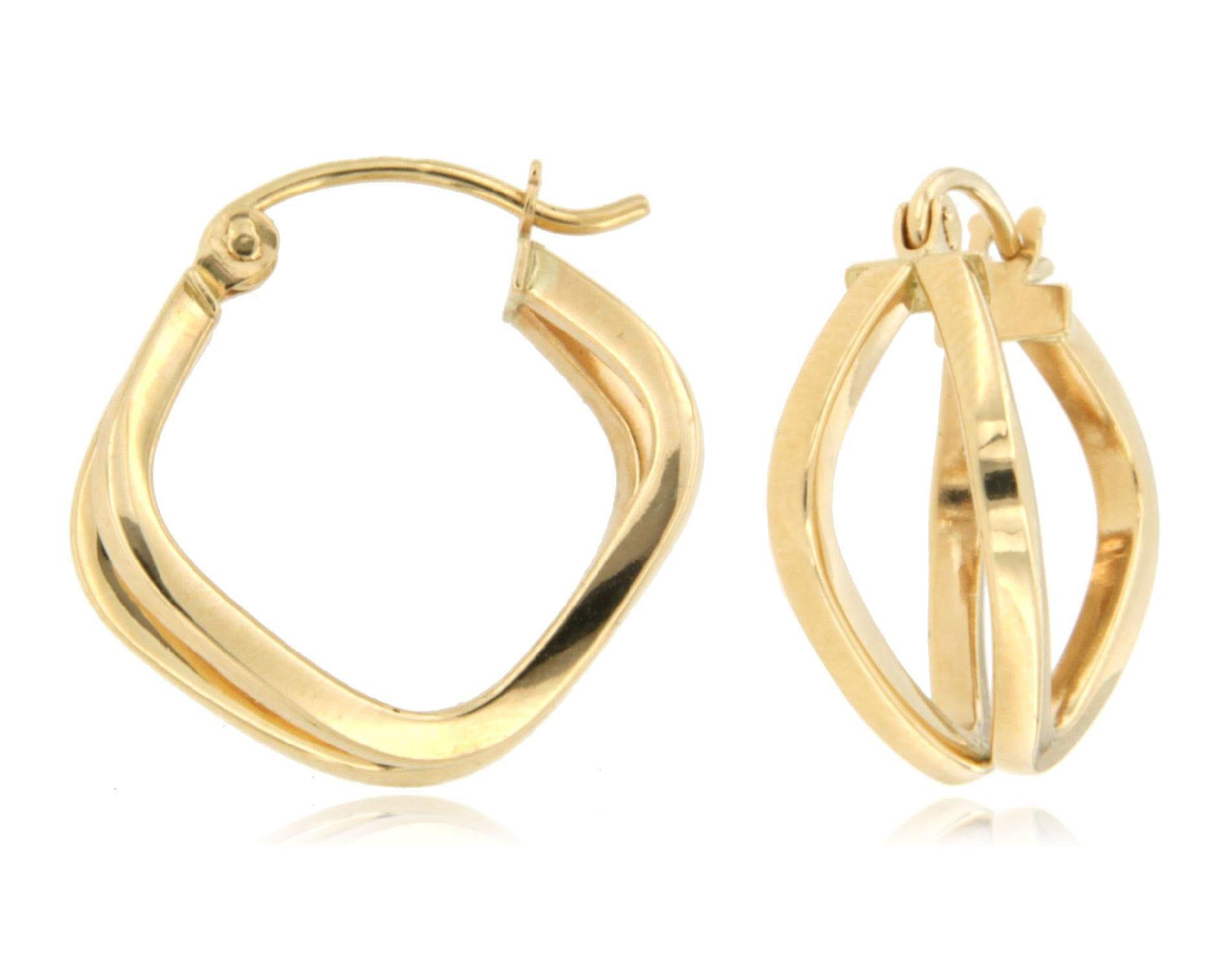 Split Square Earrings in 14k Yellow Gold