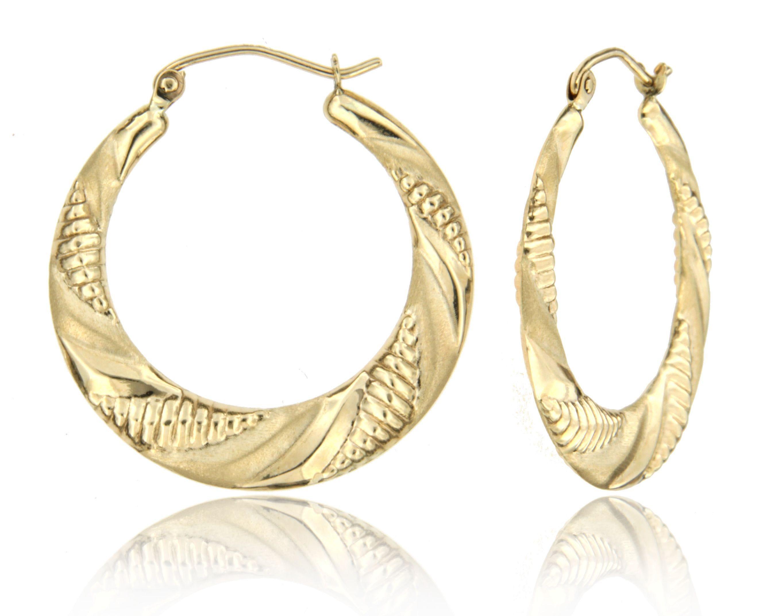 Flat Satin Hollow Hoop Earrings In 14k Yellow Gold