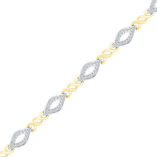 Open Marquise Shape 1/3ctw Fashion Bracelet in 10k Yellow and White Gold
