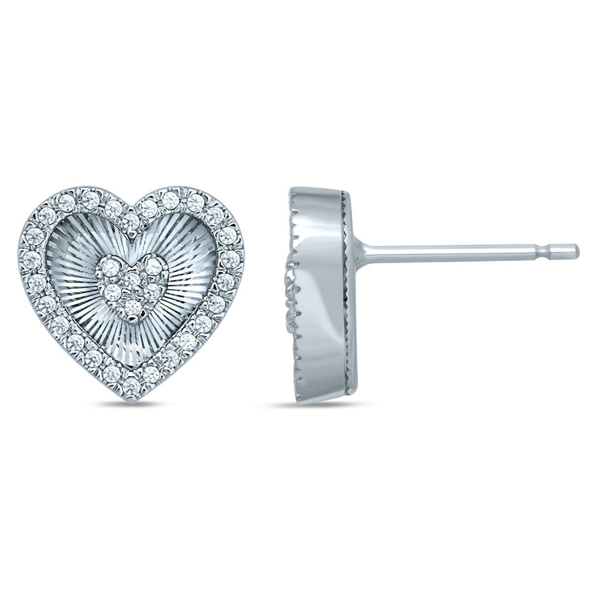Diamond 1/6ctw. Double Heart Fashion Stud Earrings in 10k White Gold