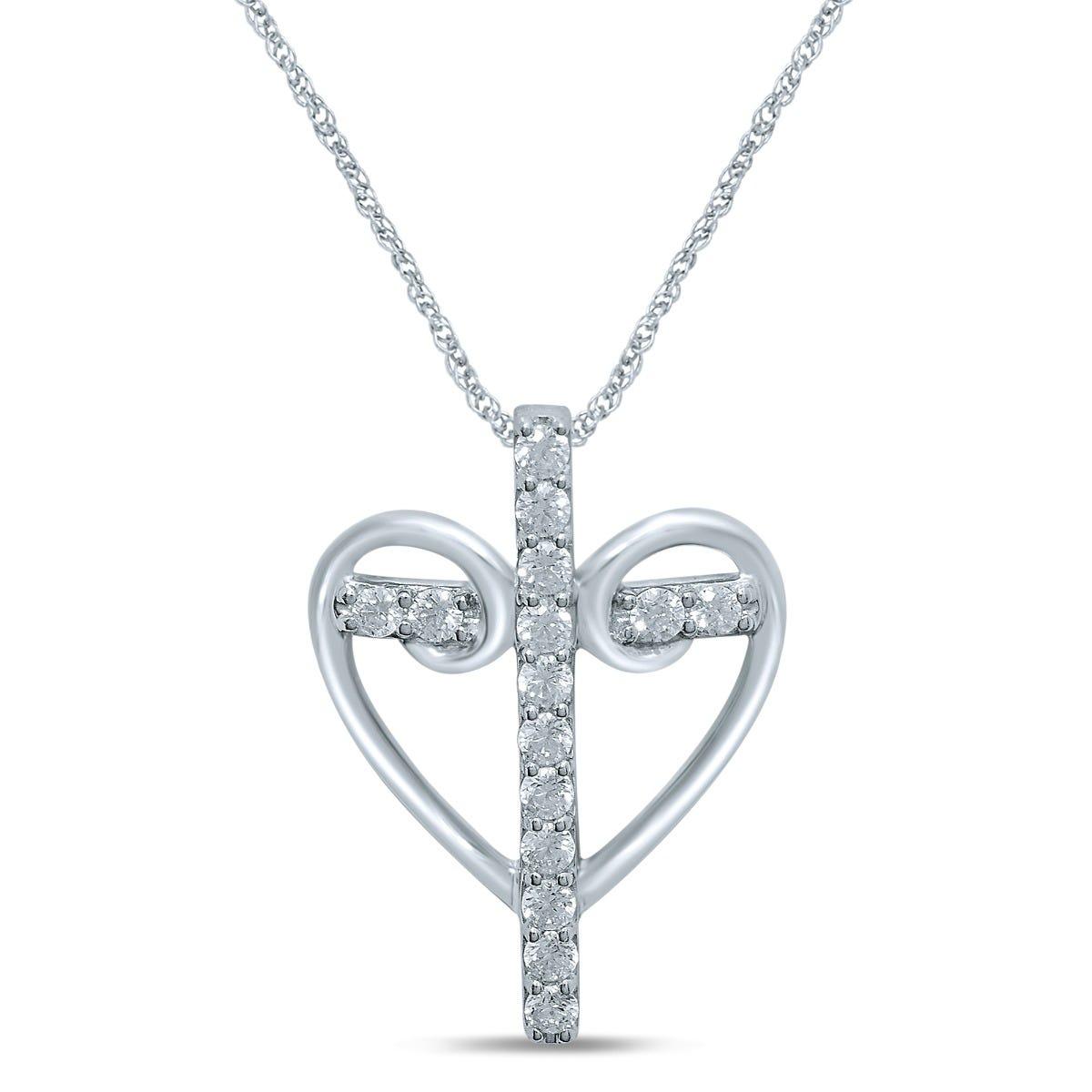 Diamond 1/4ctw. Cross in Scroll Heart Pendant in 10k White Gold