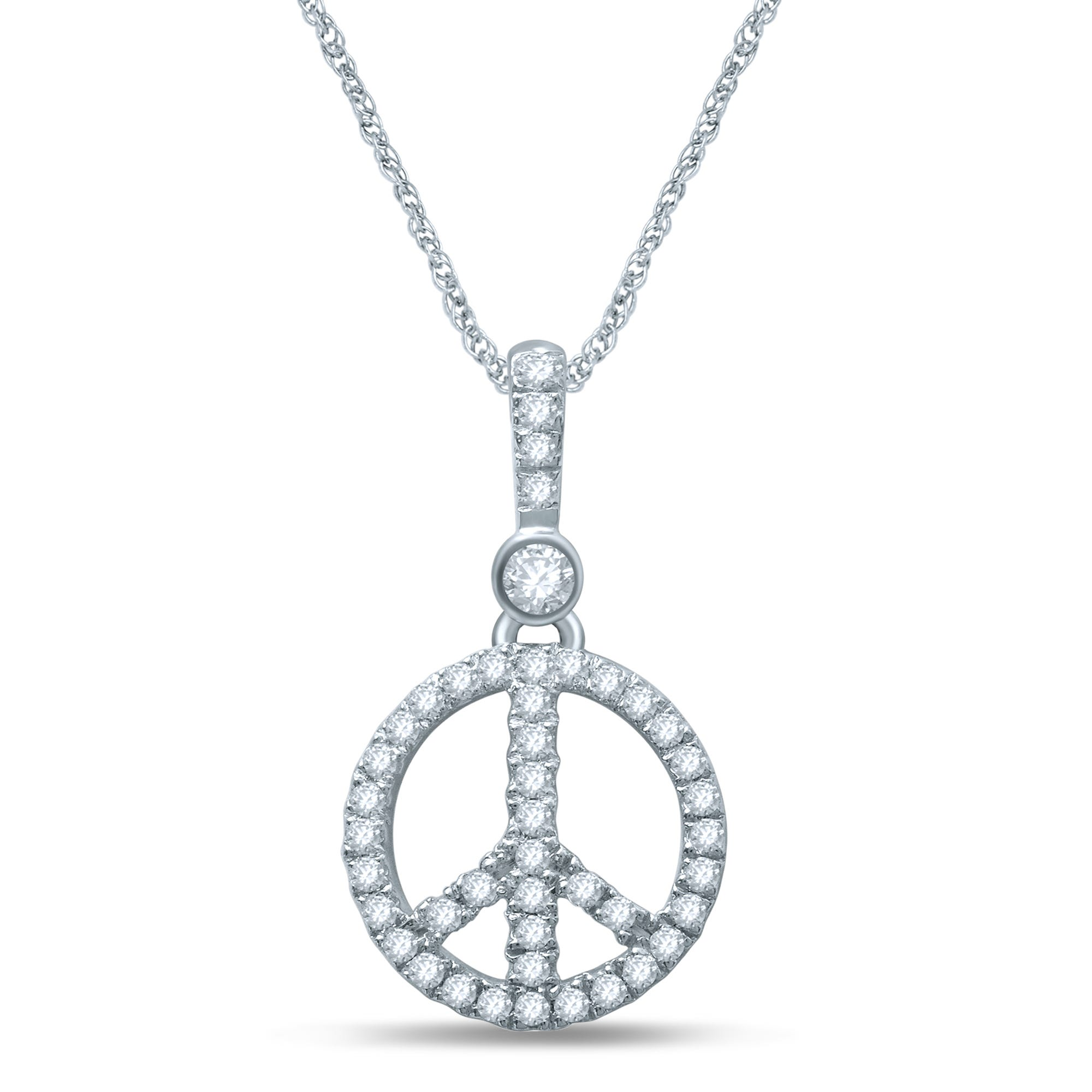 Diamond Peace Sign Fashion Pendant in 10k White Gold
