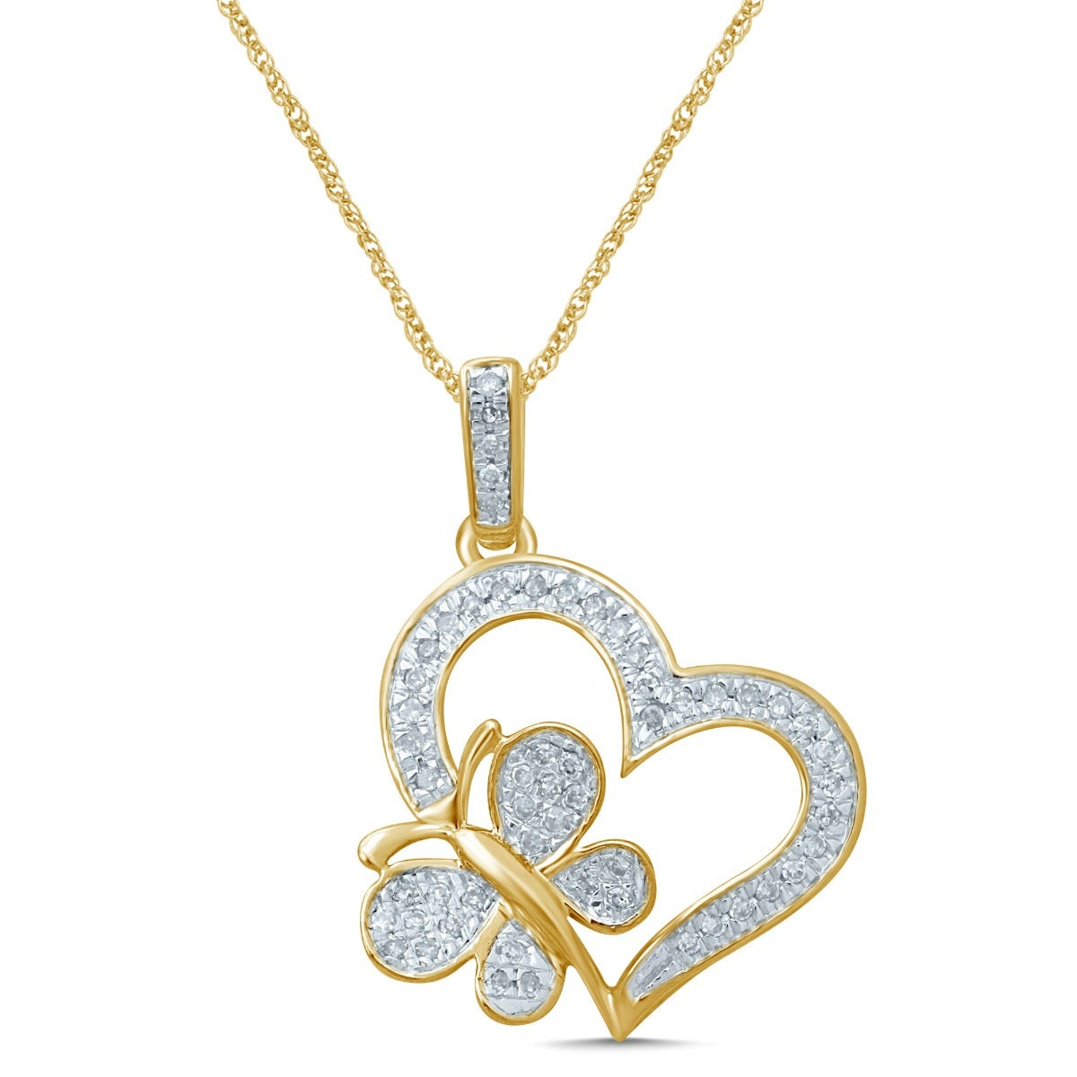 Diamond Butterfly in Heart Fashion Pendant in 10k Yellow Gold