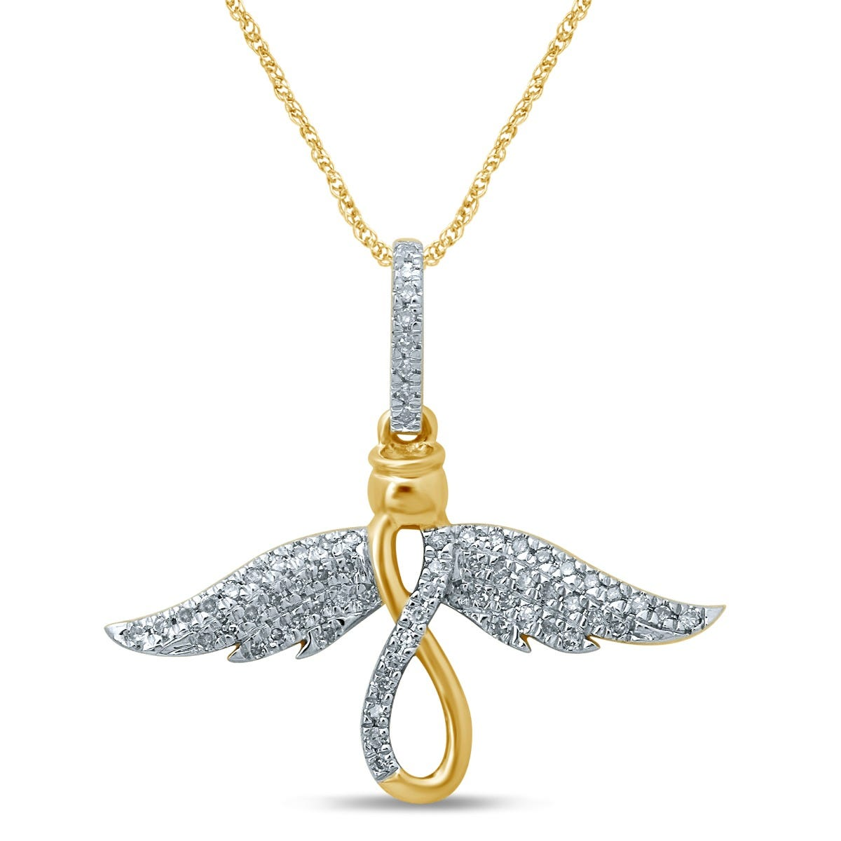 Diamond Angel Infinity Fashion Pendant in 10k Yellow Gold