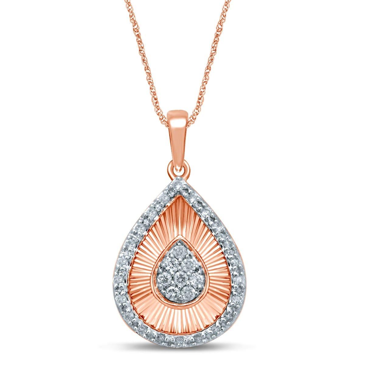 Diamond Pear Cluster Fan Fashion Pendant in 10k Rose Gold