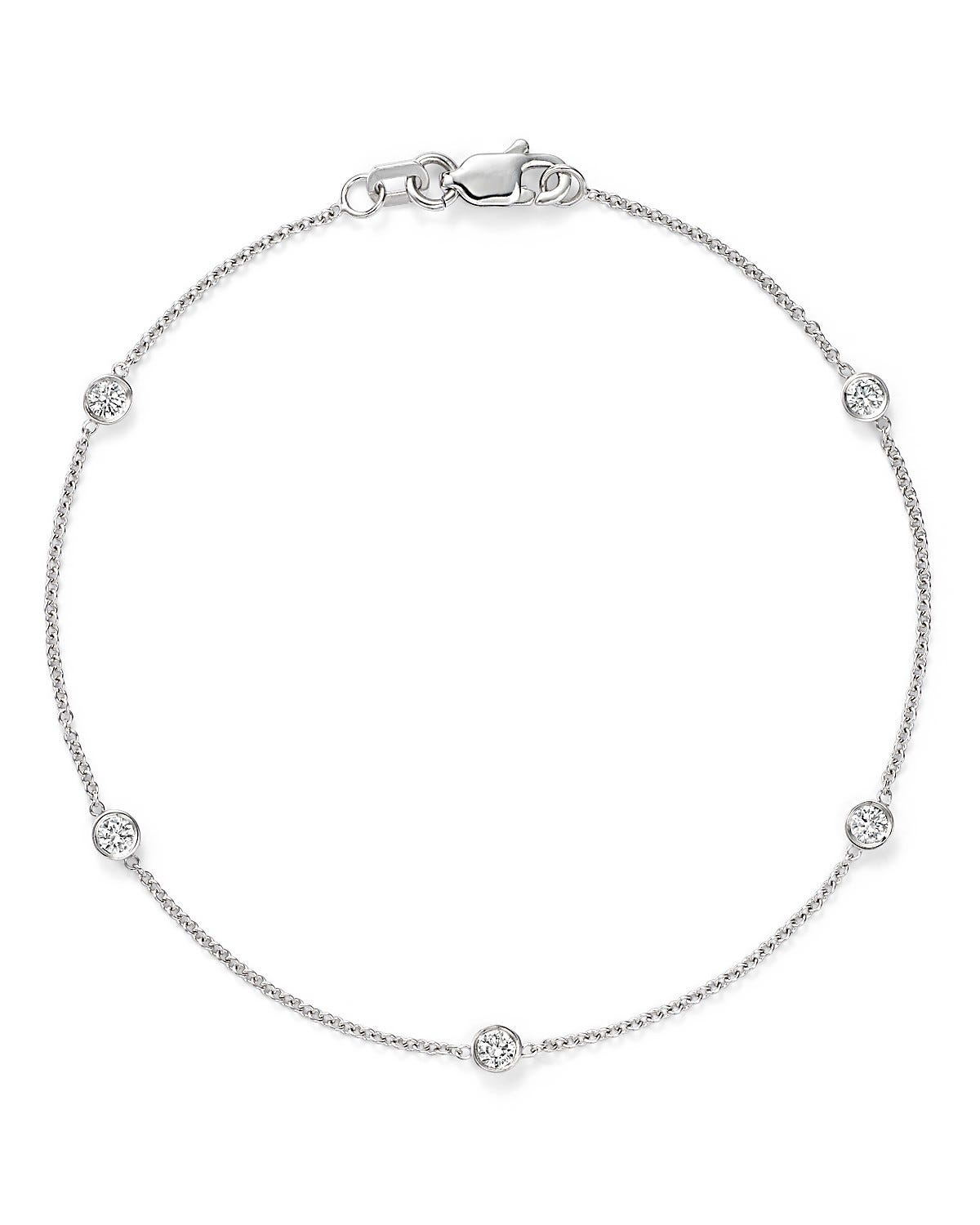 Diamond Five Station Bracelet 1/4ctw in 14K White Gold