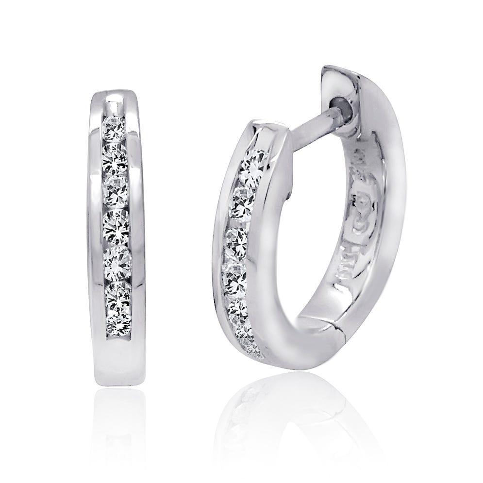 Diamond Hoop Earring 1/6ctw in 10K White Gold