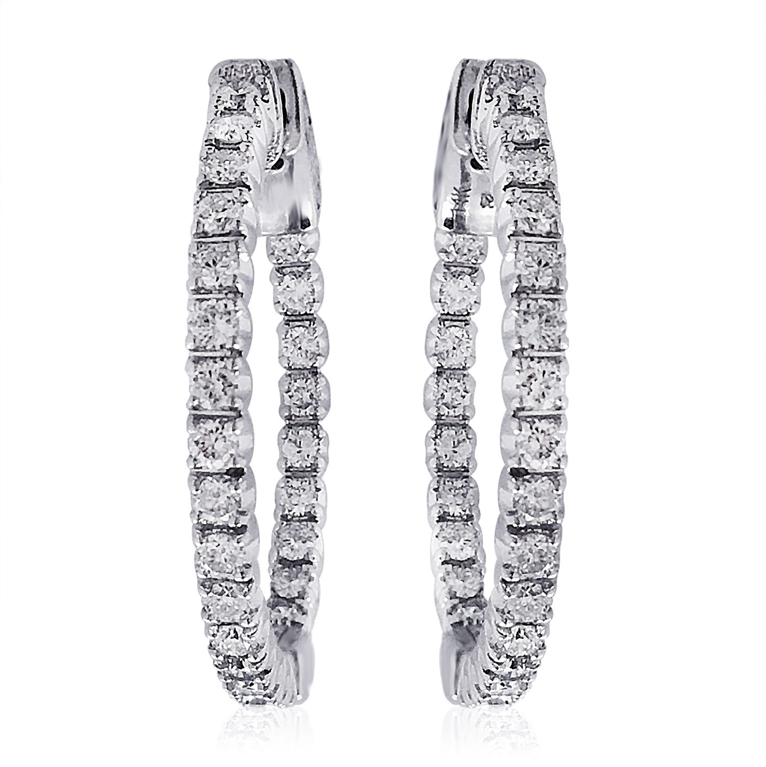 Diamond In and Out Hoop Earrings 1ctw in 14K White Gold