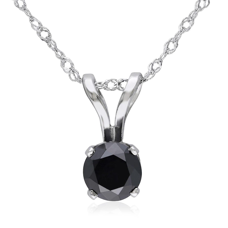 Round Black Diamond Solitaire Pendant 1/4ctw in 14K White Gold
