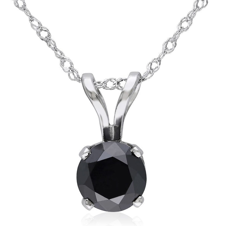 Round Black Diamond Solitaire Pendant 1/2ctw in 14K White Gold