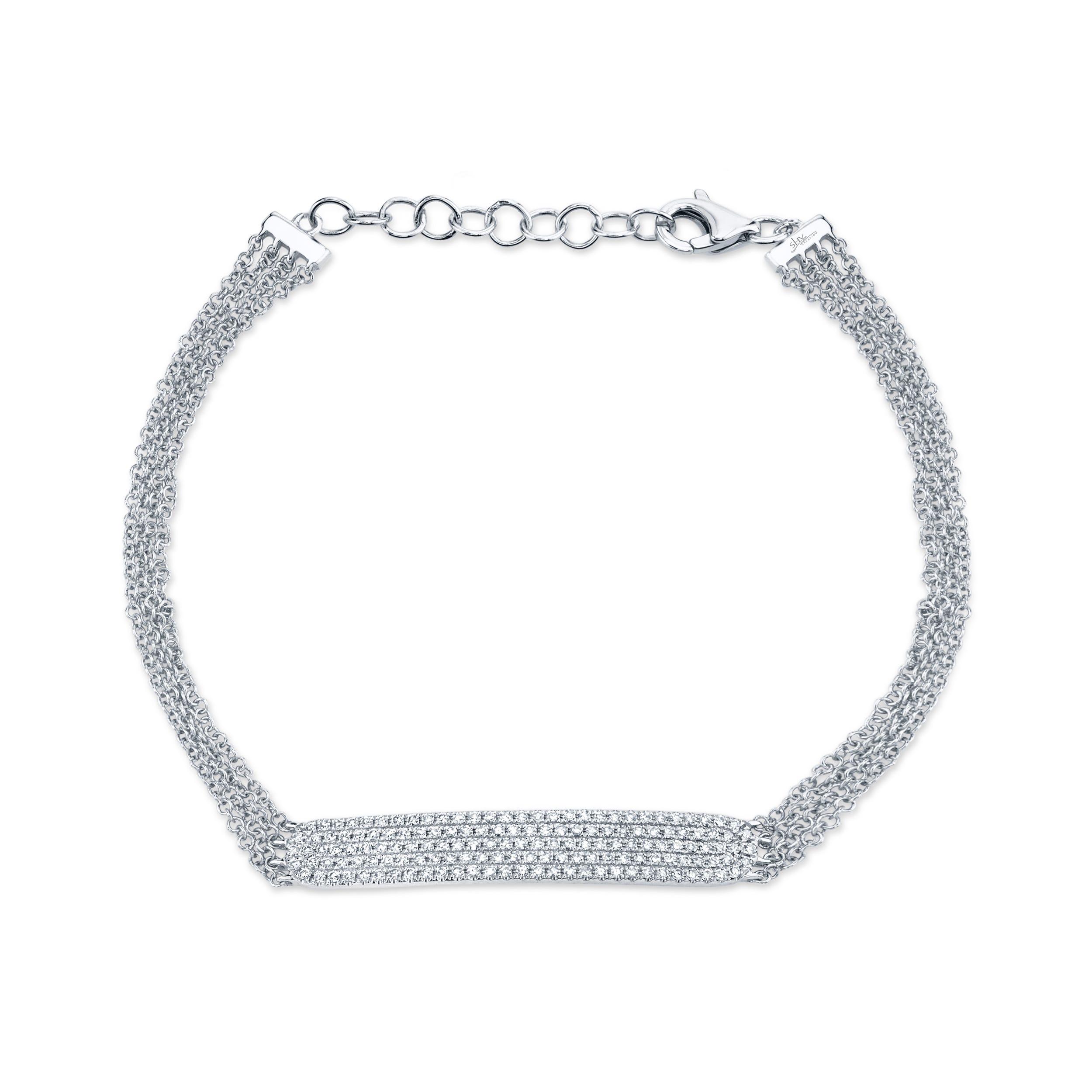 Shy Creation Diamond Pave ID Fashion Bracelet 3/8ctw in 14k White Gold SC55004406