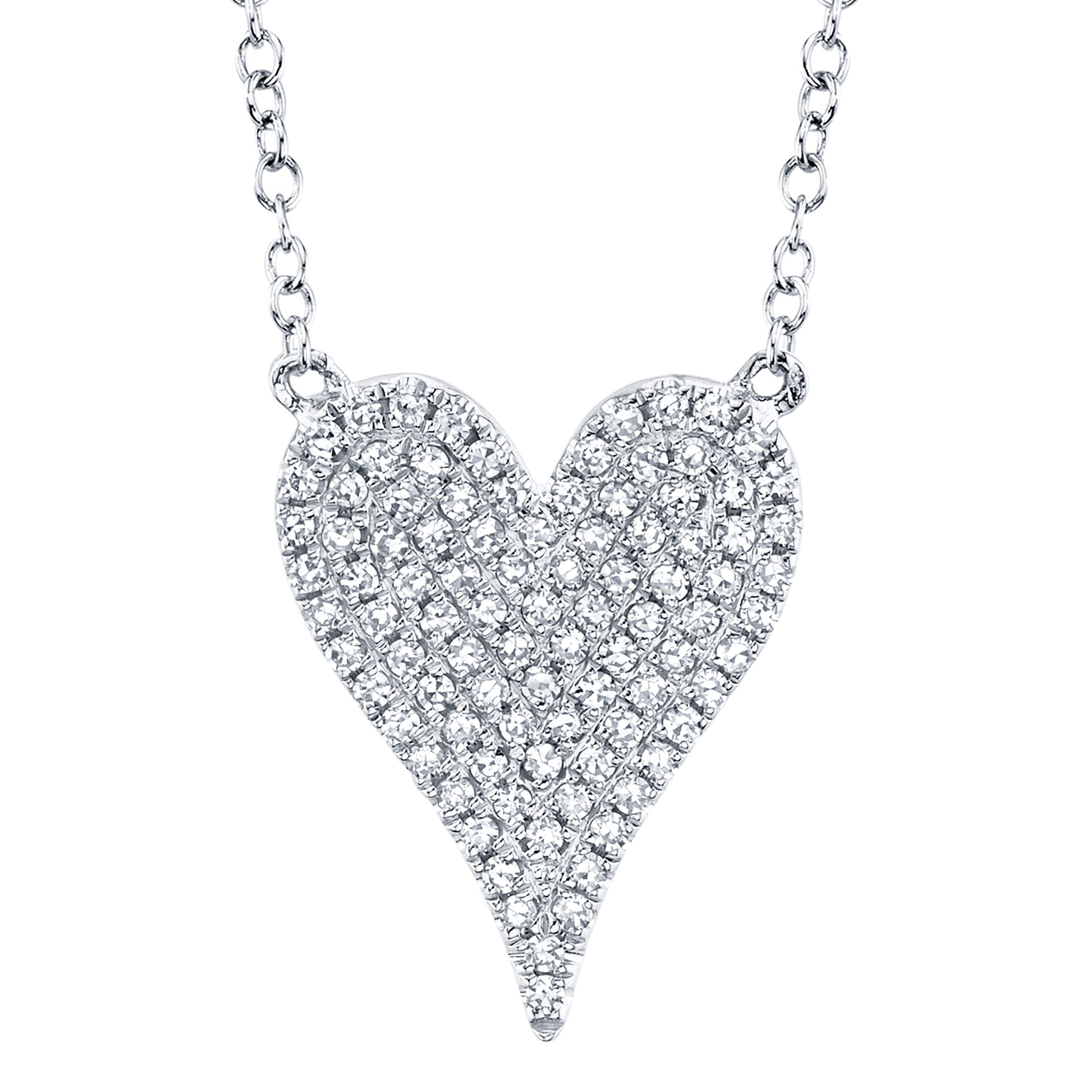 Shy Creation Diamond Pave Heart Necklace in 14k White Gold SC55002004